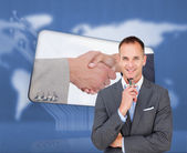 Businessman holding glasses — Stock Photo