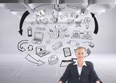 Composite image of businesswoman sitting on swivel chair in black suit — Stock Photo