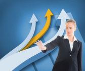 Immagine composita dell'imprenditrice che punta da qualche parte — Foto Stock