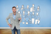 Man smiling and gesturing — Stock Photo