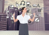 Content gorgeous businesswoman posing — Stock Photo