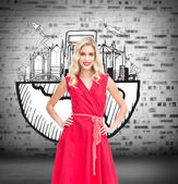 Blonde standing hands on hips — Stock Photo