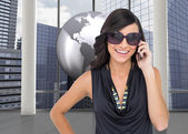 Happy brunette phoning — Stock Photo