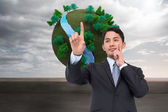 Composite image of stressed businessman putting his fingers on h — Stock Photo