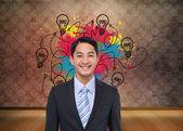 Imagem composta de sorridente empresário asiático — Fotografia Stock