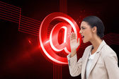 Composite image of confident businesswoman calling for someone — Stock Photo