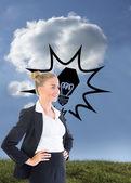 Złożony obraz kobieta stojąc z rękami na biodrach — Zdjęcie stockowe