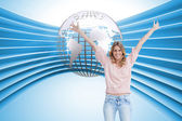 Woman has her arms raised up — Stock Photo