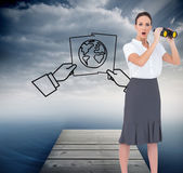Astonished elegant businesswoman holding binoculars — Stock Photo