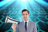 Businessman holding a megaphone — Stock Photo