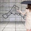 Composite image of elegant businesswoman holding black umbrella — Stock Photo