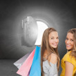 Two young women with shopping bags — Stock Photo #38523877
