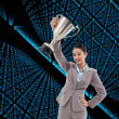 Businesswoman showing a cup — Stock Photo