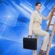 Businesswoman climbing career ladder with briefcase — ストック写真 #38525687