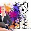 Stock Photo: Composite image of businesswomusing laptop