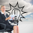 Composite image of businesswoman sitting on swivel chair with tablet — Stock Photo #38527819