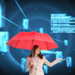Businesswoman holding red umbrella — Stock Photo #38529587