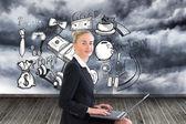 Imagem composta de empresária usando laptop — Fotografia Stock