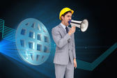 Architect yelling with a megaphone — Stock Photo