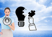 Businesswoman talking in megaphone — Stock Photo