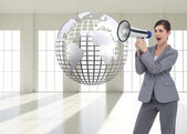Businesswoman with loudspeaker — Photo