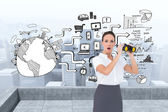 Businesswoman holding binoculars — Stock Photo