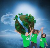 Enviromental activists jumping and smiling — Stock Photo