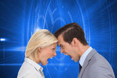 Colleagues quarreling head against head — Stock Photo