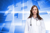 Composite image of happy doctor looking at camera — Stock Photo