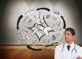 Composite image of doctor with arms crossed looking up — Stock Photo