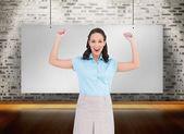 Victorious stylish businesswoman posing — Stock Photo