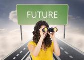 Casual young woman using binoculars — Foto de Stock