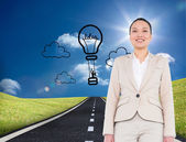 Smiling asian businesswoman walking — Stock Photo