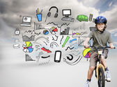 Boy with his bike during the summer in a park — Stock Photo
