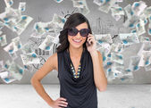 Attractive brunette phoning — Stock Photo