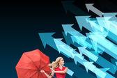 Beautiful woman posing with a broken umbrella — Stock Photo