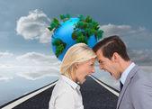Colleagues quarreling head against head — Stock Photo