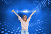 Woman who has her arms raised up — Stock Photo