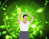 Businesswoman throwing her tablet pc — Stock Photo