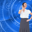 Composite image of cheerful smart call center agent working — Stock Photo
