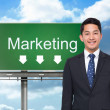 Composite image of signpost showing marketing direction — Stock Photo