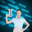 Stern classy businesswomholding megaphone — Stock Photo #38536325
