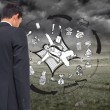 Composite image of business graphic on stormy background — Stock Photo
