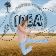 Composite image of woman doing dance pose — Stock Photo
