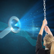Composite image of businesswoman pulling a chain — Stock Photo #38538247