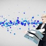 Businesswoman dropping many folders — Stock Photo