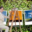 Businesswoman climbing career ladder with briefcase — Stock Photo #38539873
