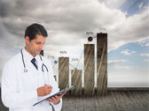 Smiling doctor holding pen and clipboard — Stock Photo