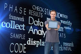 Man showing screen of his tablet comput — Stock Photo