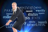 Composite image of businesswoman pulling a rope — Stockfoto
